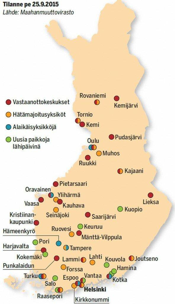 vastaanottokeskukset kartta
